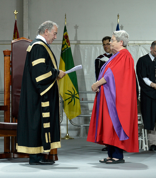 York University Chancellor Gregory Sorbara awards the honorary degree to Marion Boyd