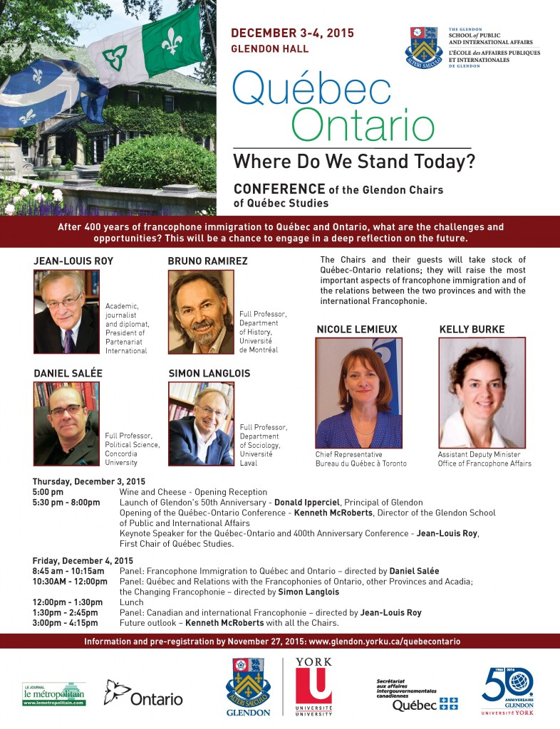 Québec-Ontario: Where Do We Stand Today? (Conference Opening) @ BMO Conference Centre, Glendon Hall @ York University