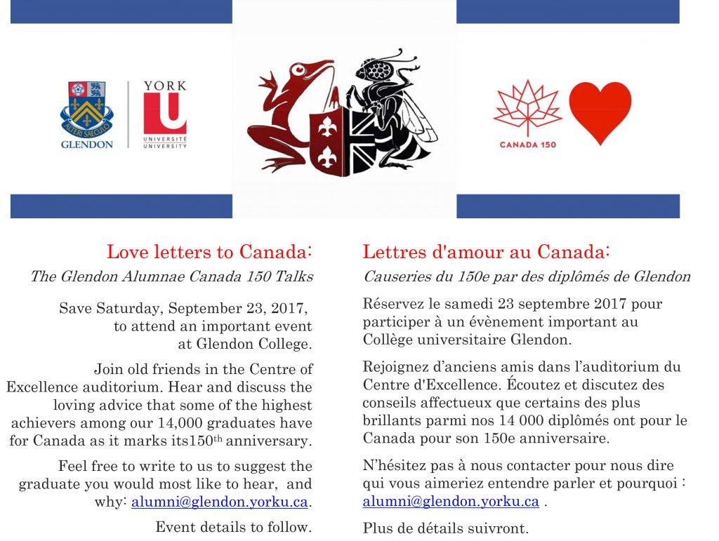 Lettres d'amour au Canada : Causeries du 150e par les diplômés de Glendon @ Centre d'excellence