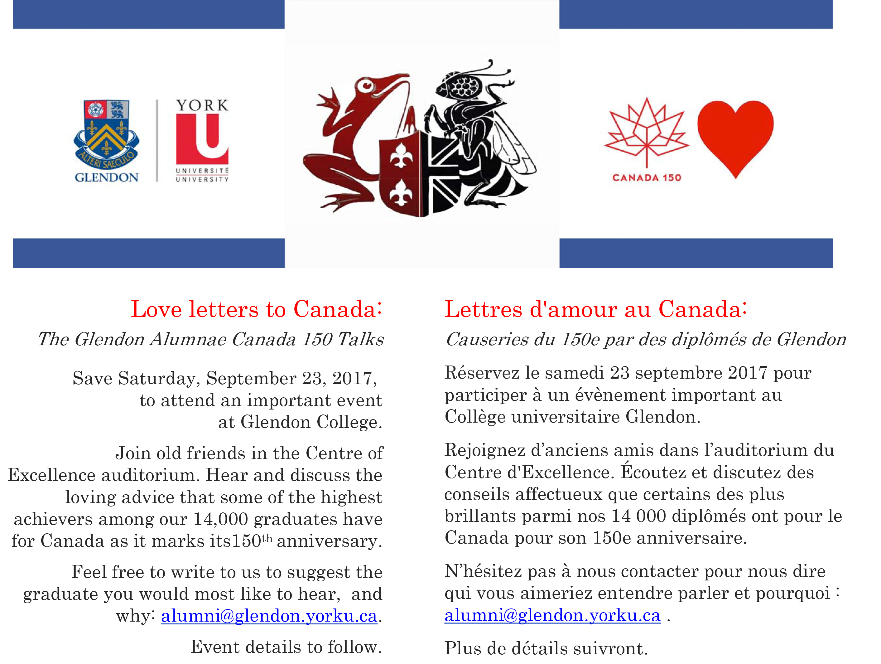 Love Letters to Canada: The Glendon Alumnae Canada 150 Talks @ Centre of Excellence
