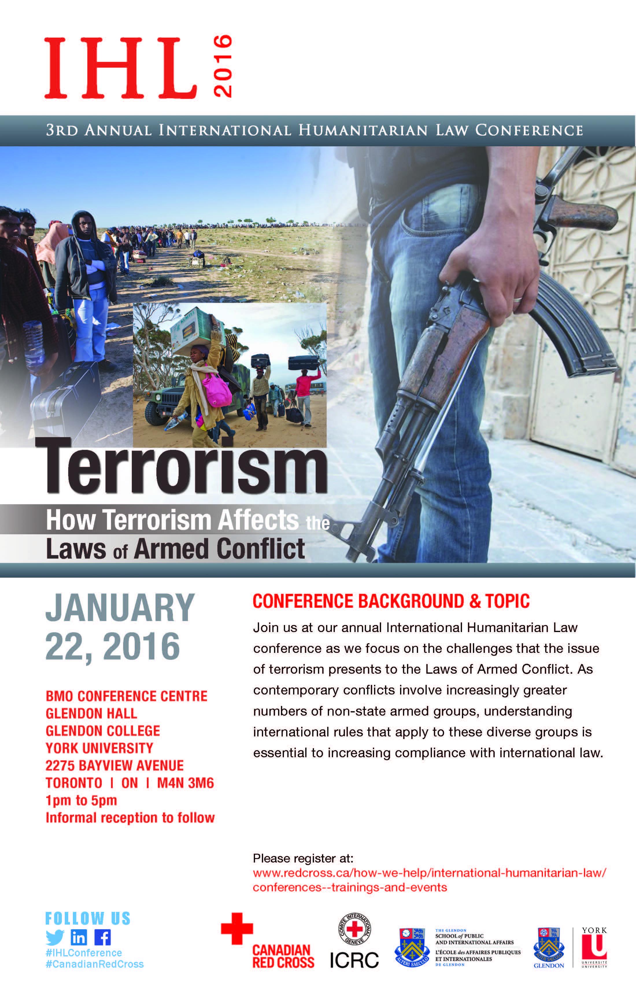 3rd Annual International Humanitarian Law Conference - Terrorism @ BMO Conference Centre, Glendon Hall   Toronto   Ontario   Canada