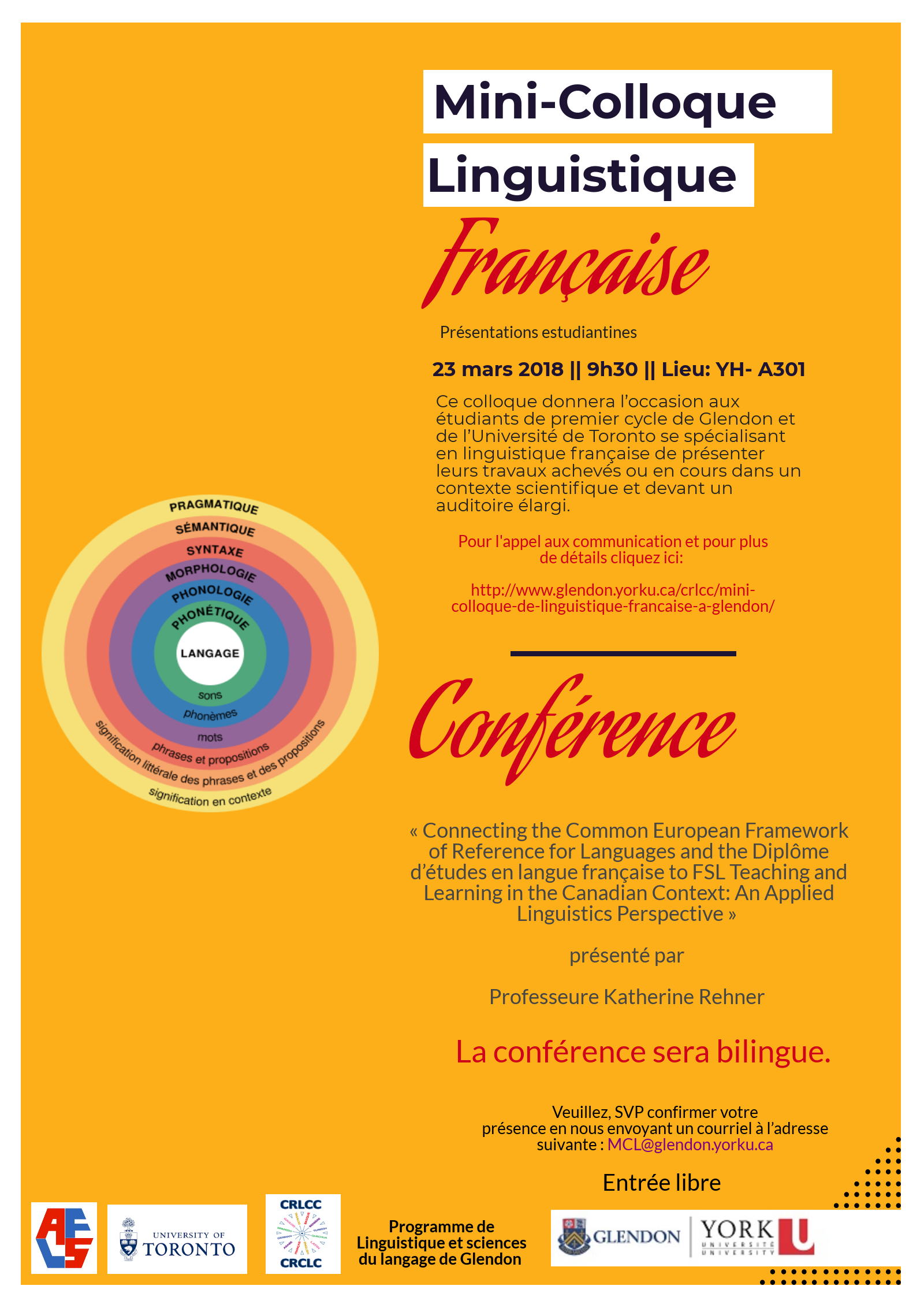 Mini-colloque de linguistique française et conférence par  Katherine Rehner