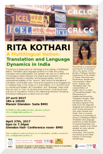 CRLCC Event:  A Multilingual Nation : Translation and Language Dynamics in India @  |  |