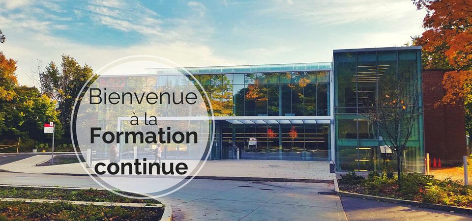 Photo du nouveau bâtiment de Glendon: Centre of Excellence avec texte: Bienvenue à la Formation continue
