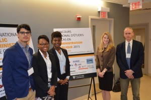 2015 National Case Competition Team. From left to right : Kevin Ladouceur, Teshini Harrison, Louise Harlley , Zenia Turkewych-Miner and Eugene Lang (Visiting Fellow & Coach).