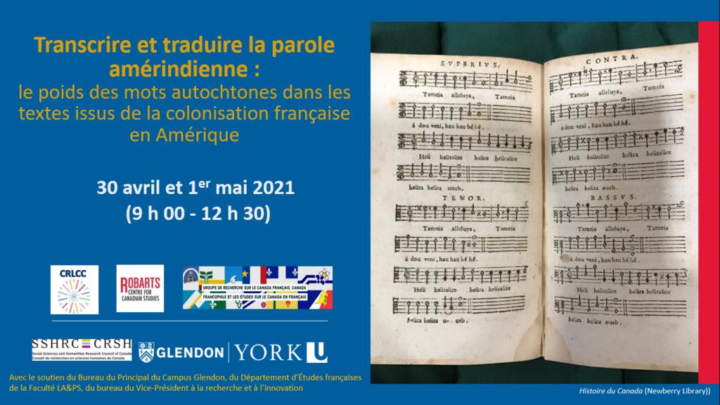 Affiche de la journée d'étude- Transcrire et traduire la parole amérindienne qui aura lieu le 30 avril et le 1er mai 2021