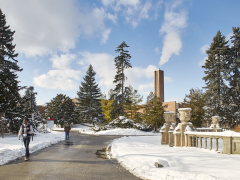 Snow outside Glendon Hall