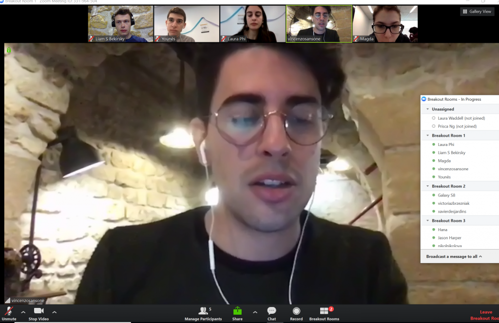 Glendon exchange students participating in a virtual group meeting at the Transnational Ideathon in March 2019 from Paris, France