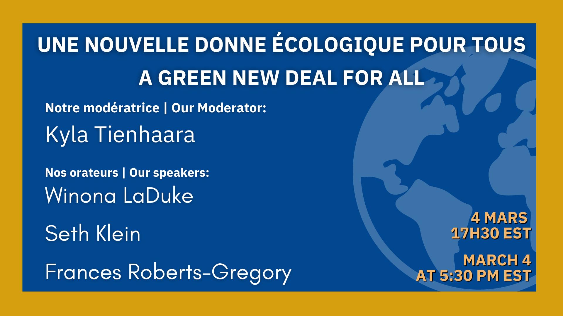 A Green New Deal For All | Une Nouvelle Donne écologique pour tous