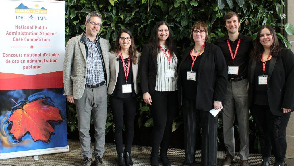 Left to right: Professor Francis Garon, Monica Smith, Mona Awwad, President of CAPPA Andrea Rounce, Kyler Woodmass and Andrea Garland