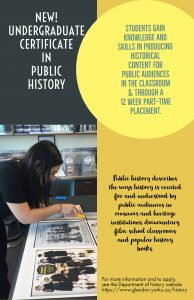 Poster for undergraduate certificate in public history