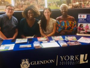 Group at a table at an information session