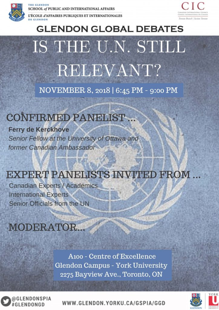 "Glendon Global Debates poster: ""Is the U.N. Still Relevant?"""